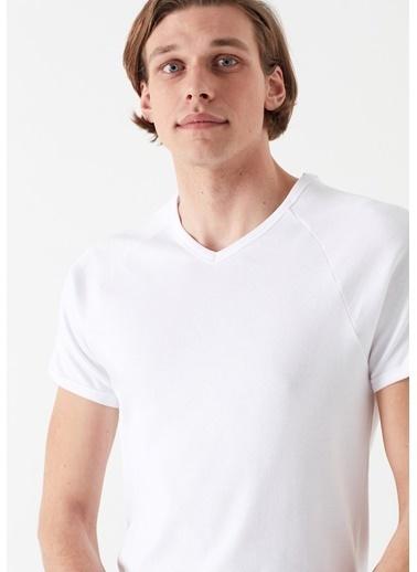 Mavi Erkek  V Yaka Basic Tişört 061313-622 Beyaz